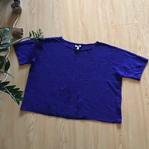 Eileen Fisher boxy rib knit linen sweater tee